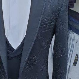 Latest Design Black Men's Tuxedo Slim Fit close up