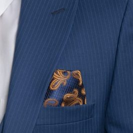 Donatella Blue 3 piece Suit Slim Fit Striped Closeup